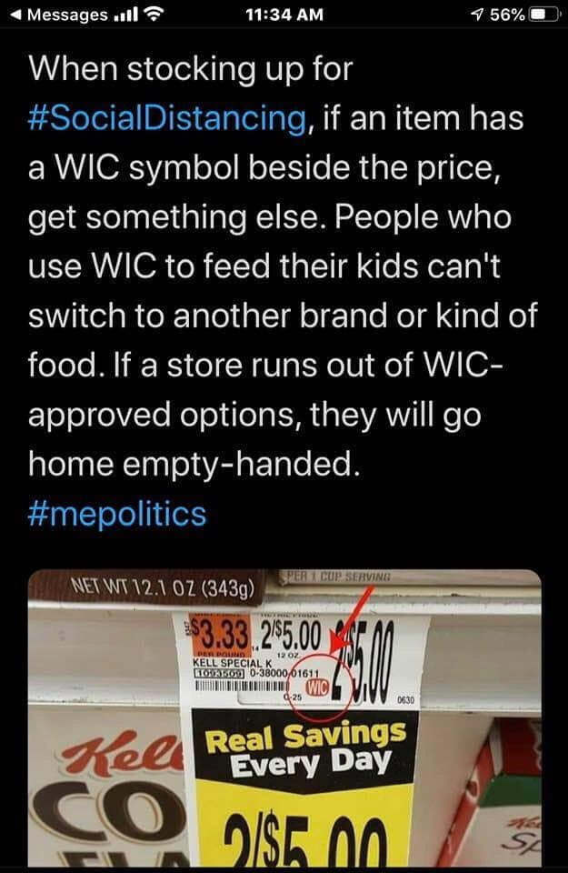 Please consider leaving WIC-authorized food on the shelves for the people who need it.
