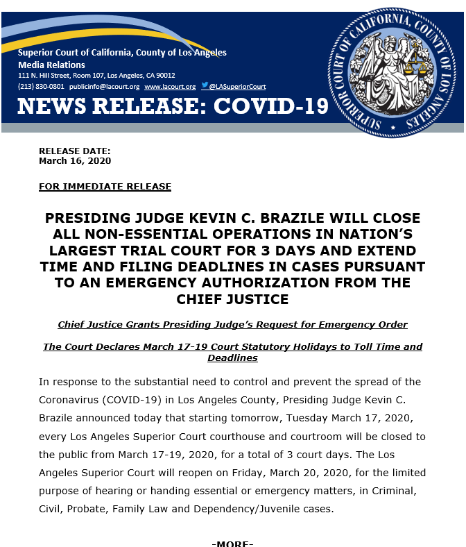La Superior Court On Twitter Presiding Judge Kevin C Brazile Will Close All Non Essential Operations In The Nation S Largest Trial Court For 3 Days March 17 19 And Extend Time And Lasuperiorcourt.org is tracked by us since april, 2011. twitter