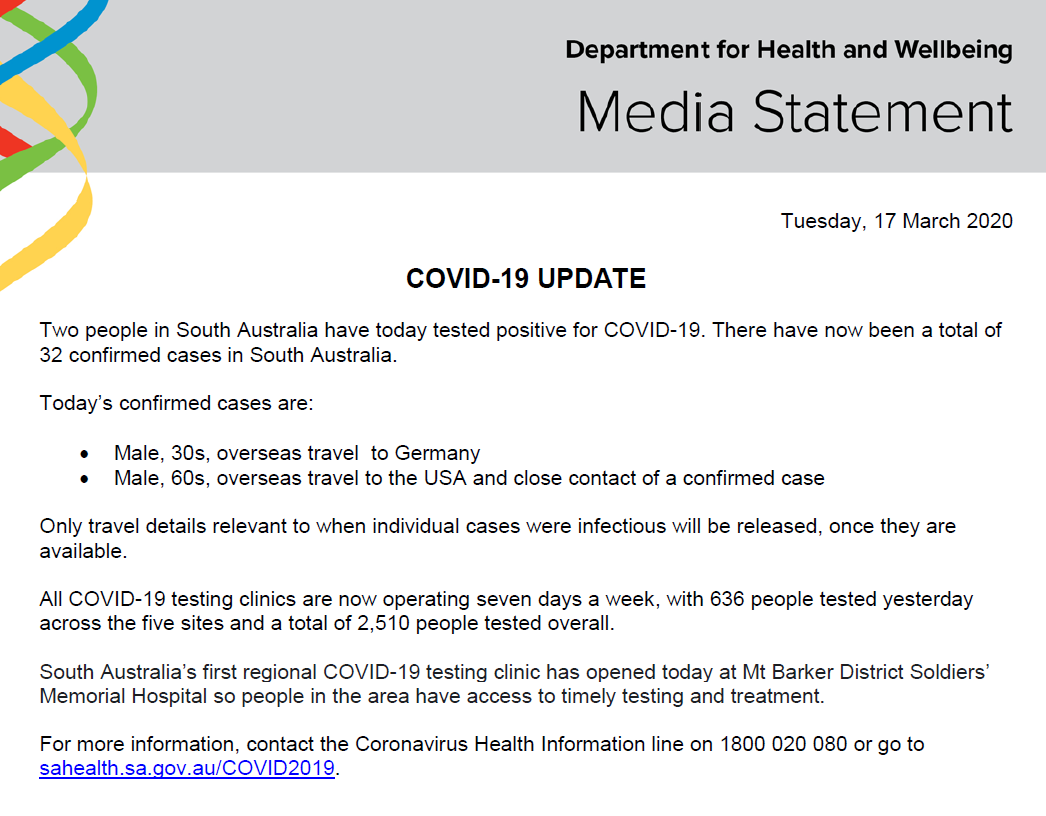 Sa Health On Twitter South Australian Covid 19 Update 17 3 20 For More Information Contact The Coronavirus Health Information Line On 1800 020 080 Or Go To Https T Co Mynzsgpayo For The Latest Travel Advice Please
