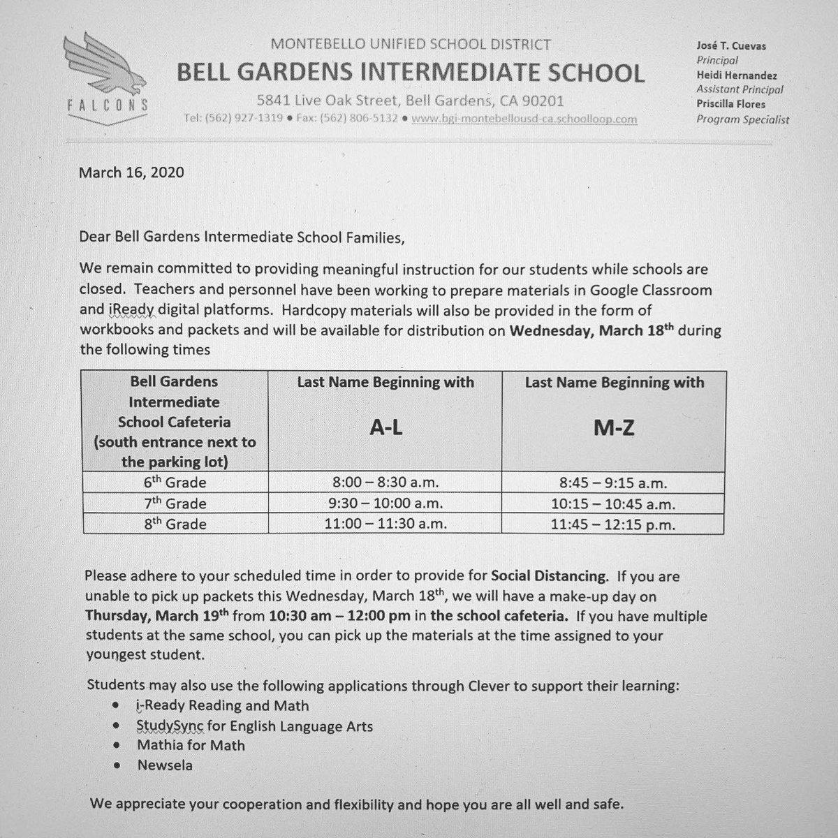 Bell Gardens Intermediate School Bgifalcons Twitter