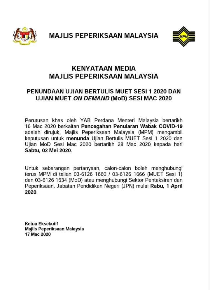 Kpm On Twitter Kenyataan Media Majlis Peperiksaan Malaysia Penundaan Ujian Bertulis Muet Sesi 1 2020 Dan Ujian Muet On Demand Mod Sesi Mac 2020 Https T Co Kld6lywuig