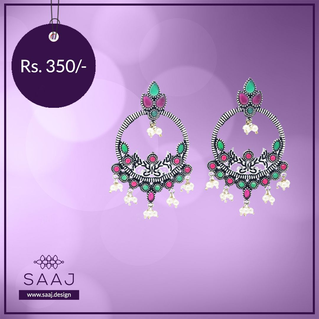 MOTI & RED, GREEN STONE OXIDISED EARRING at Rs. 350.00 . . . . #Earrings #EarringLove #EarringLovers #TraditionalEarrings #EarringSale #EarringsAddict #OxidisedJewellery #OxidisedEarrings #OxidisedEarring #OxidisedEarringsIndia #OxidisedEarringwithJhumkis #OxidizedEarringsJhumkaspic.twitter.com/vmteDlkQ5y