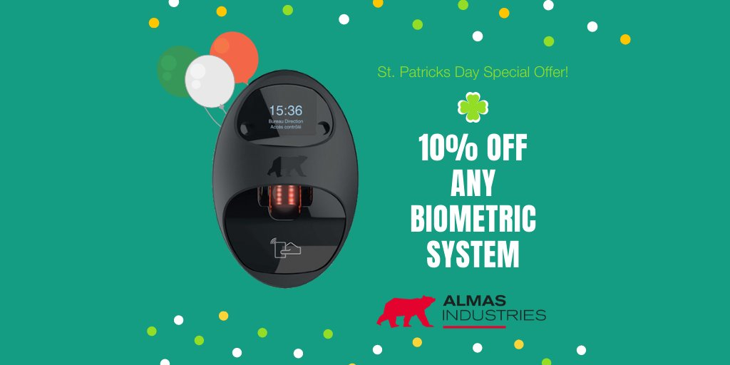 Celebrate #StPatricksDay with Almas! Until the end of March, new customers get one-month #free when you sign up for any #biometric system. All customers get a FREE no-obligation security audit. Want to book yours? Go ahead and give our friendly team a call on 01 68 333 68 https://t.co/EMIZZO6dxA