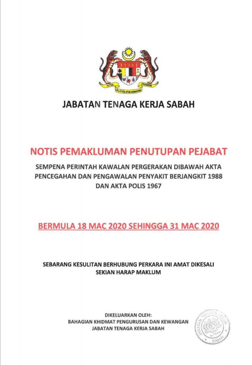 Jabatan Tenaga Kerja Sabah Jtk Sabah On Twitter Notis Pemakluman Penutupan Pejabat Jtk Sabah Ibu Pejabat Dan 15 Pejabat Tenaga Kerja Iaitu Kota Kinabalu Termasuk Pusat Jobsmalaysia Sabah Ranau Beaufort Sipitang