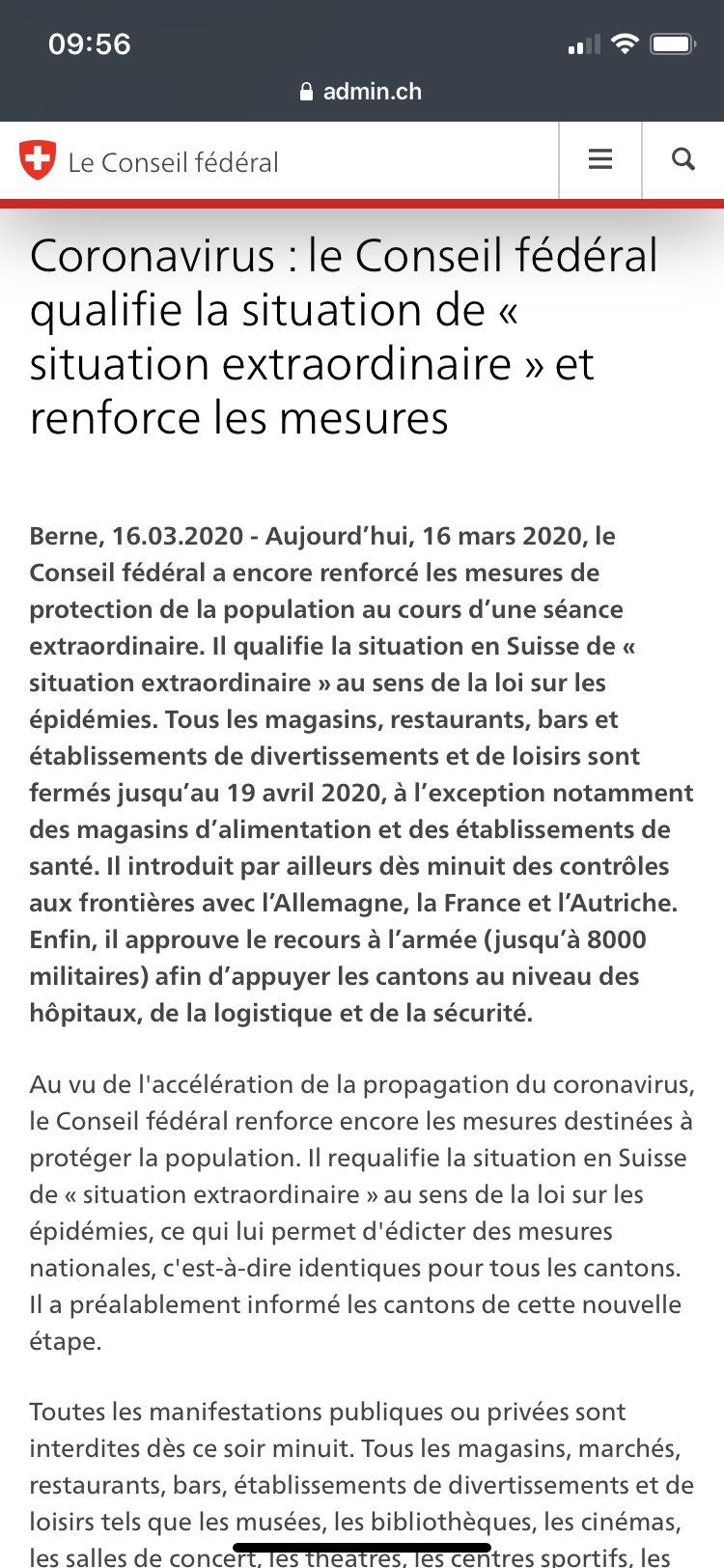 La Suisse En France On Twitter Le Coronavirus Se Propage Vite Le Conseil Federal A Declare La Situation Extraordinaire Et Prend De Nouvelles Mesures Pour Tout Le Territoire Suisse Https T Co 04d4jhygwz Https T Co Gqsxkztt3l