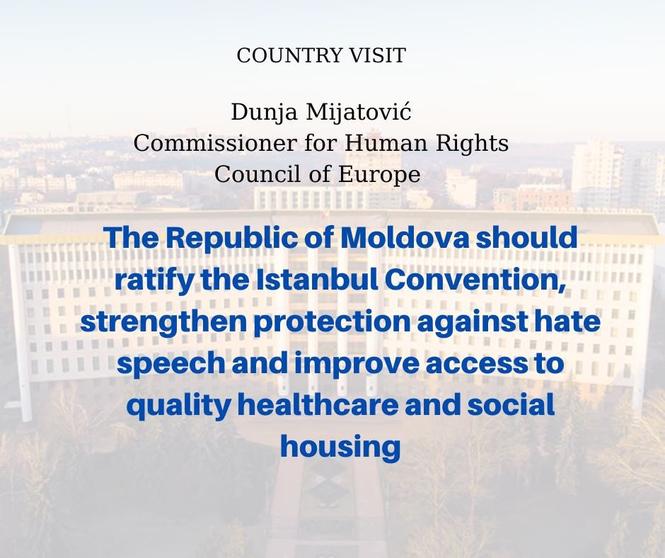 More information about the five-day visit to the Republic of Moldova of the Council of Europe Commissioner for Human Rights, Dunja Mijatović see here: https://t.co/mIzV22x2ci https://t.co/MpfkiSvuvR