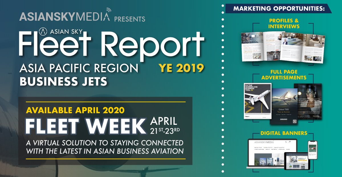 The annual Asia Pacific Business Jet Fleet Report (https://t.co/yp2D5BNMXU) will be released this April, featuring updated data on the regional #bizjet fleet.  For marketing opportunities: https://t.co/H3O0f7uX2B  #AsianSkyGroup #AsianSkyMedia #ASGFleetWeek https://t.co/K3c8YGs4sk