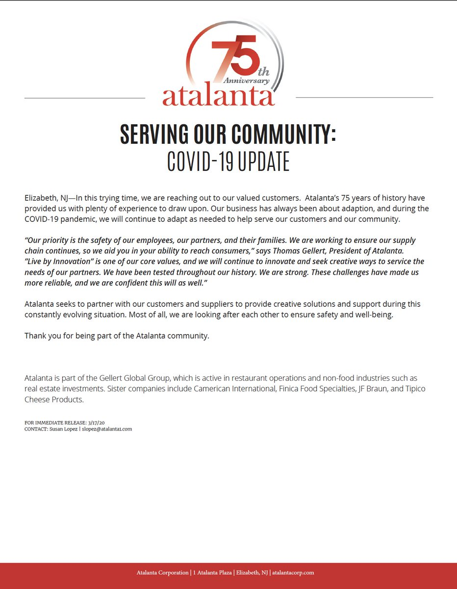 A message from Atalanta to our community:   Our priority is the safety of our employees, our partners, and their families. We seek to partner with our customers and suppliers to provide creative solutions and support during this constantly evolving situation. https://t.co/Yw1H7wcCmV
