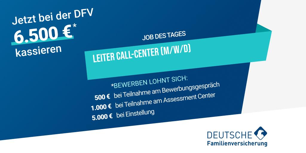 Unser #JobdesTages: Die @DFV_AG sucht einen Leiter Call-Center (m/w/d). Jetzt beim #Testsieger bewerben und 6.500€ Wechselprämie erhalten!   https://t.co/oMge1Fzysb   #insurtechgermany #insurtecheurope #weildumehrverdienst #jobdestages #wearehiring https://t.co/pjUtQ9sFKW