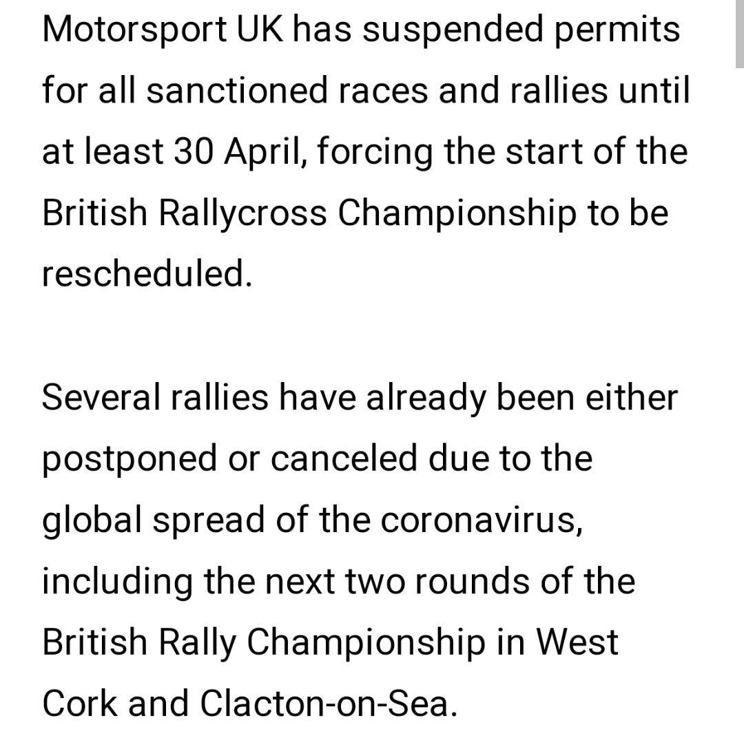 Another had hit to the Motorsport world as Motorsport UK suspends all permits for sanctioned rallies till end of April. More details ➡️https://www.dirtfish.com/rallycross/motorsport-uk-suspends-events-brx-opener-affected/amp/?__twitter_impression=true …  @planetemarcus @DirtFishRally @RallyingUK @voiceofrally #COVID2019 #coronavirus #CoronavirusOutbreak #Dirtfish