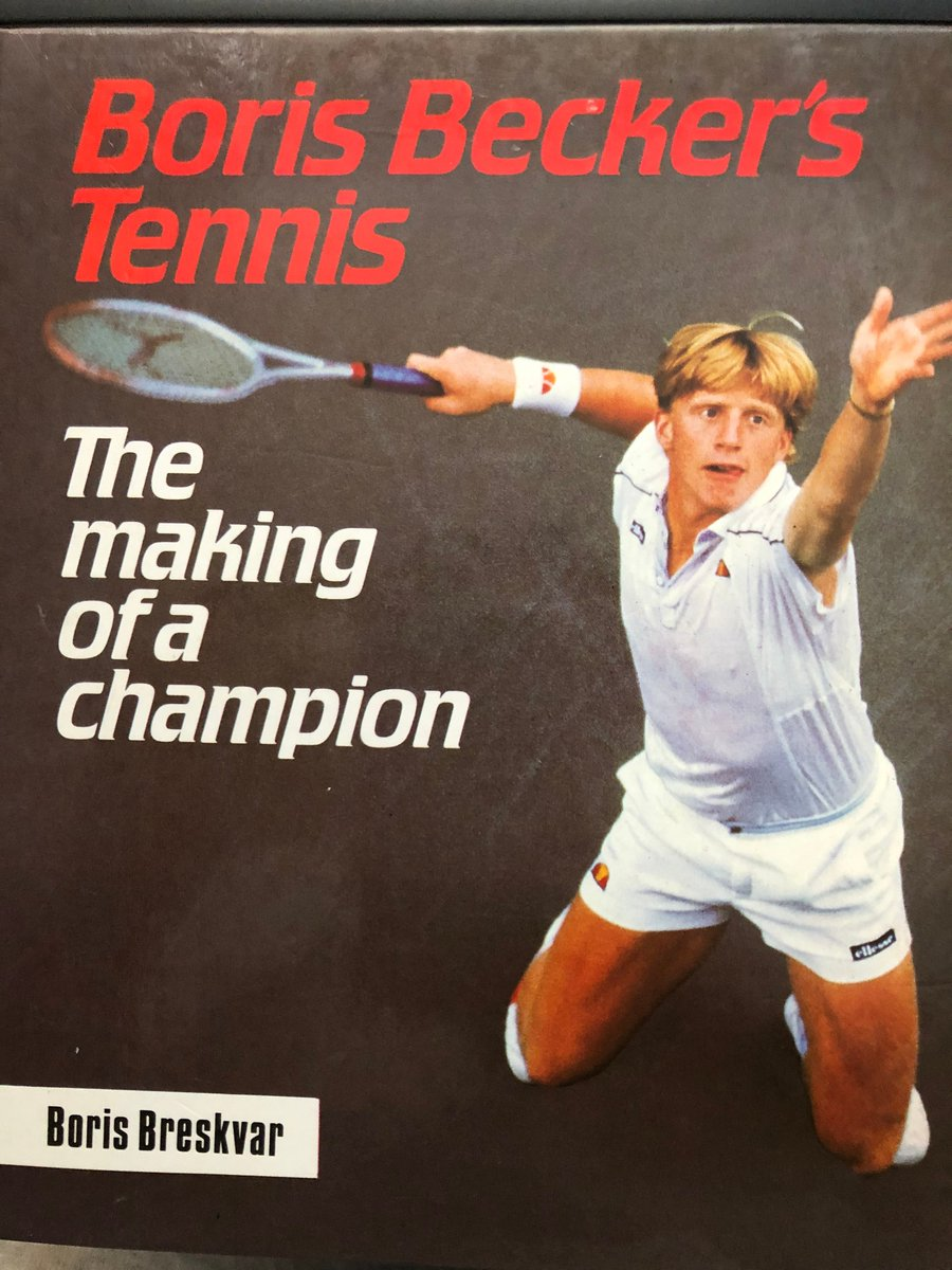 My first tennis book: '@TheBorisBecker's Tennis - The making of a champion' by Boris Breskvar, 1985 (English translation 1987).   Watched him at Beckenham in 1985, prior to @TheQueensClub & @Wimbledon. Fell in love with the sport.  Now one of 1,500 tennis books on my shelves.