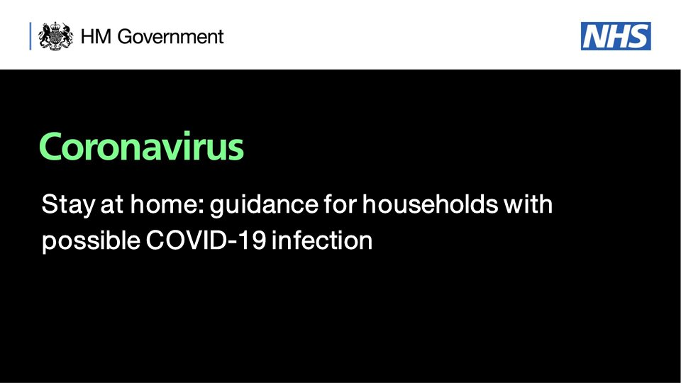 New #COVID19 guidance: ▪️ If someone in your household has a new, continuous cough and/or high temperature, everyone in the household should stay at home for 14 days. Read the full guidance here: bit.ly/3b3Uaql