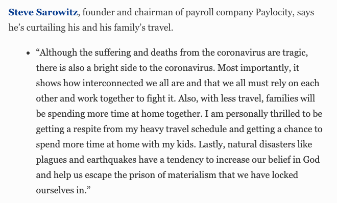 Steve Sarowitz, founder and chairman of Paylocity: Appreciating the chance for some time off. #BillionaireWatch2020