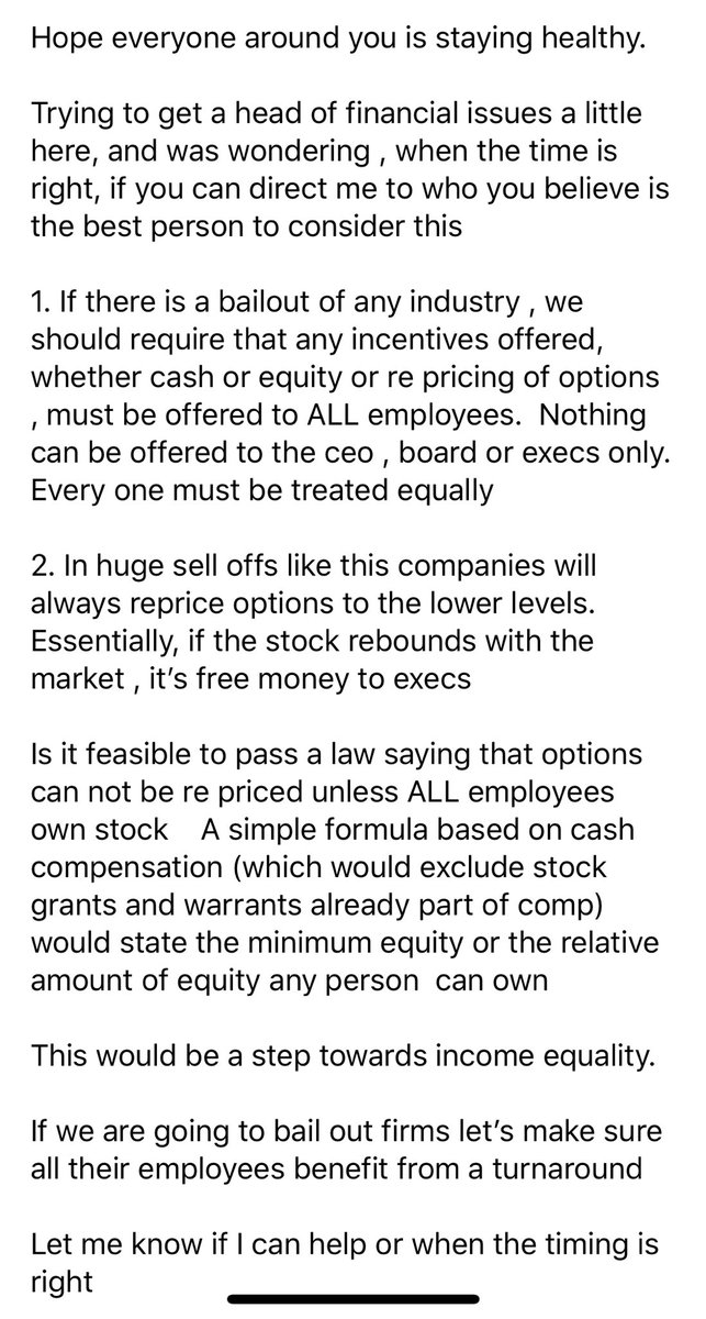 I know this is early but wanted to get ahead of the politics. If we are going to bailout companies we need to make sure all employees benefit from a turn around, not just execs.  ⁦@jimcramer⁩ ⁦@CNBC⁩ ⁦@CNBCFastMoney⁩ ⁦@ScottWapnerCNBC⁩ https://t.co/sWaCEQiZua