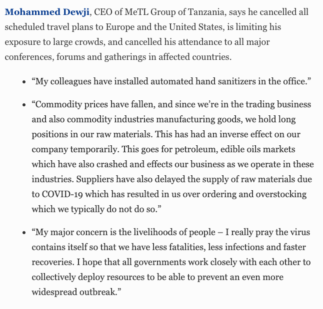 Mohammed Dewji, CEO of MeTL Group of Tanzania: Canceling his travel plans. #BillionaireWatch2020