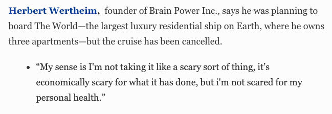 Herbert Wertheim, founder of Brain Power Inc.: Not going on that cruise. #BillionaireWatch2020