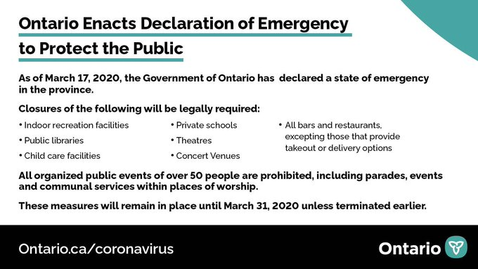 Ontario Enacts Declaration of Emergency to Protect the Public