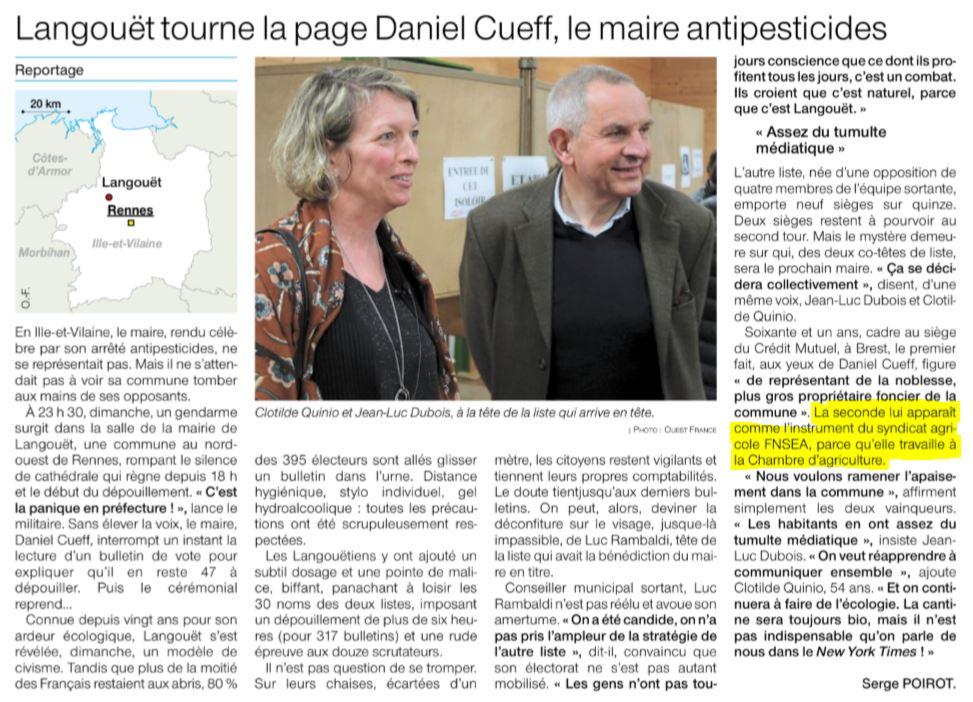 Une bonne nouvelle dans ce contexte anxiogène #COVIDー19 . La roue tourne à #Langouet. Honte à @DanielCueff de dénigrer ainsi les vainqueurs. Mme Quinio n'est l'instrument de personne. Juste une citoyenne non dogmatique qui respecte les agriculteurs. https://t.co/SmRJyHwjFF