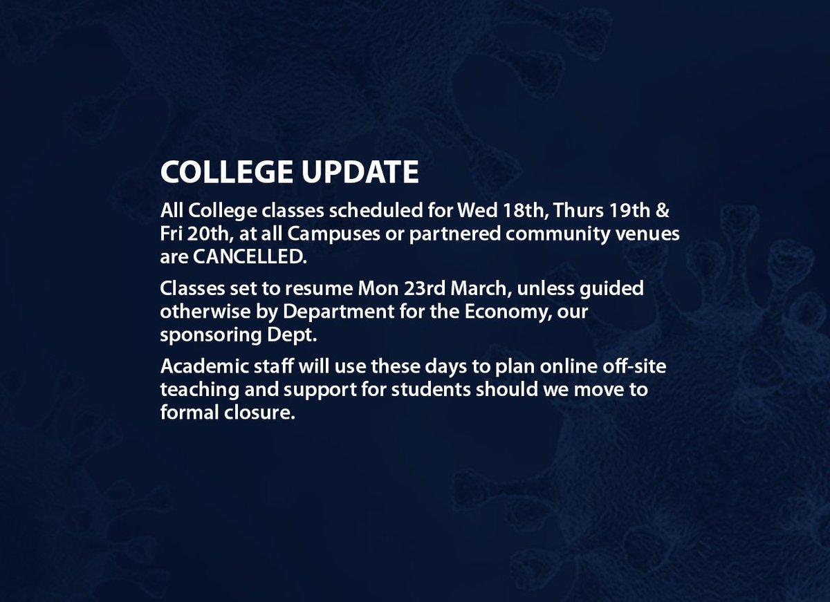 COLLEGE UPDATE NOTE Further advisory information available via nwrc.ac.uk/coronavirus
