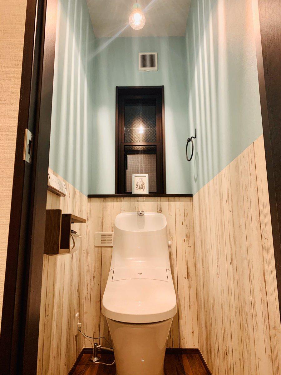 𝕠𝕔𝕜𝕪 トイレはティファニーブルー調の壁紙にウッドの切り替え 小物類はアイアン系にしたよ 大好きなからんさん Cryosleeps に頂いたお祝いイラストの額装の色と壁紙がぴったりでめっちゃ素敵になりました ありがとうございます