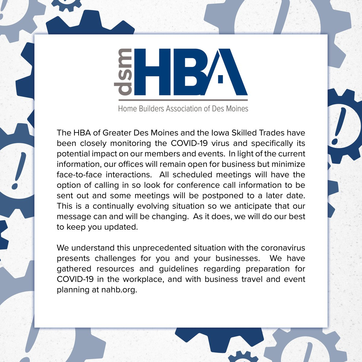 Here is the Home Builders Association of Greater Des Moines statement on COVID-19. If you have any questions you can contact our staff anytime.   #dsmhba #homebuildersassociation #covid19 #catchdesmoines #desmoines #iowapic.twitter.com/m0SEJFAxxv