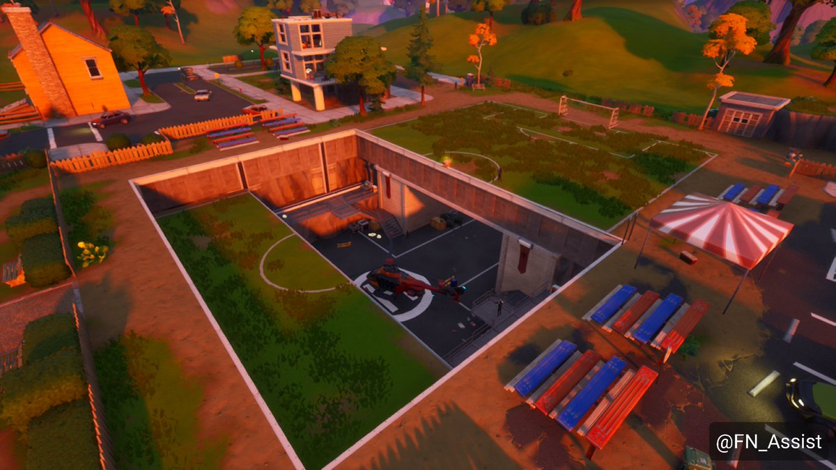 Fnassist News Leaks On Twitter The Fortnite Pleasant Park Shadow Safe House Has Lowered The Sports Field Easily Revealing The Hideout The Helipad Is Now Accessible To Be Used
