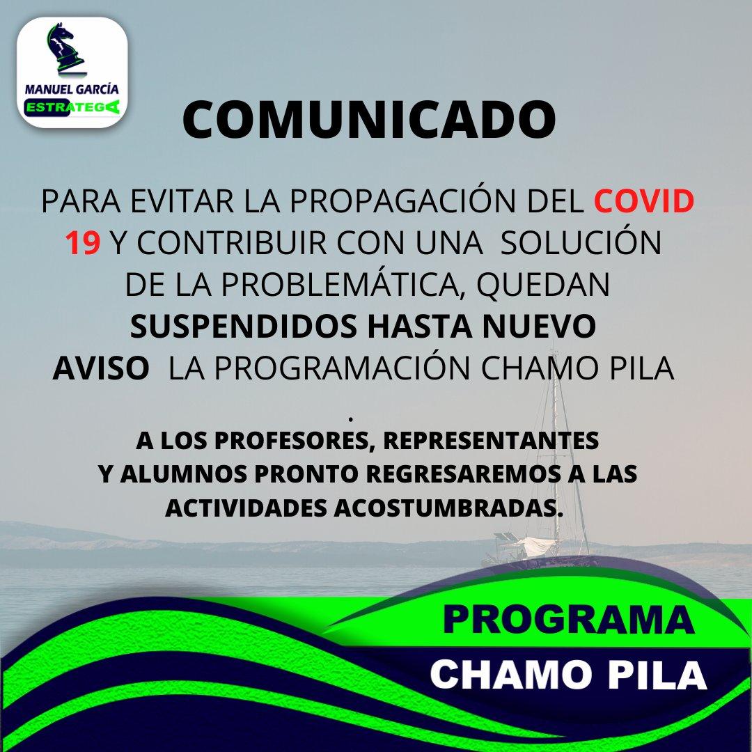 PARA EVITAR LA PROPAGACIÓN DEL COVID 19 Y CONTRIBUIR CON UNA SOLUCIÓN DE LA PROBLEMÁTICA, QUEDAN SUSPENDIDOS HASTA NUEVO AVISO LA PROGRAMACIÓN CHAMO PILA #ToqueDeQueda #CuarentenaNacional #QuedateEnTuCasaCarajo https://t.co/HPU5UGASLK