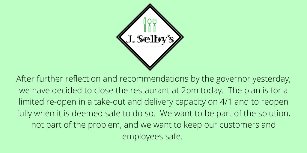 Hello friends. Please read below for an update. We are CLOSED until 4/1.