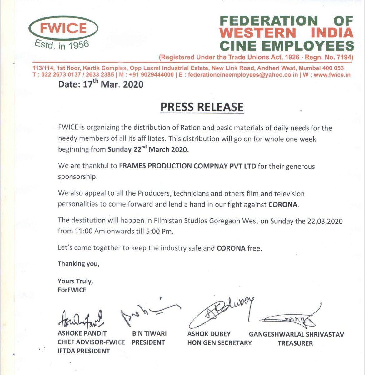 Dear Film makers,  FWICE is distributing ration and daily needs materials for needy members of  all it's affiliates. We request you to come together and lend a helping hand to the technicians and workers who are worst hit in this crisis...  #CoronaCrisis