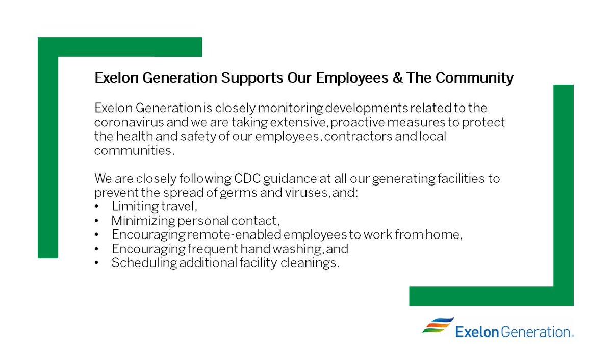 Exelon Generation's statement on #COVID19: