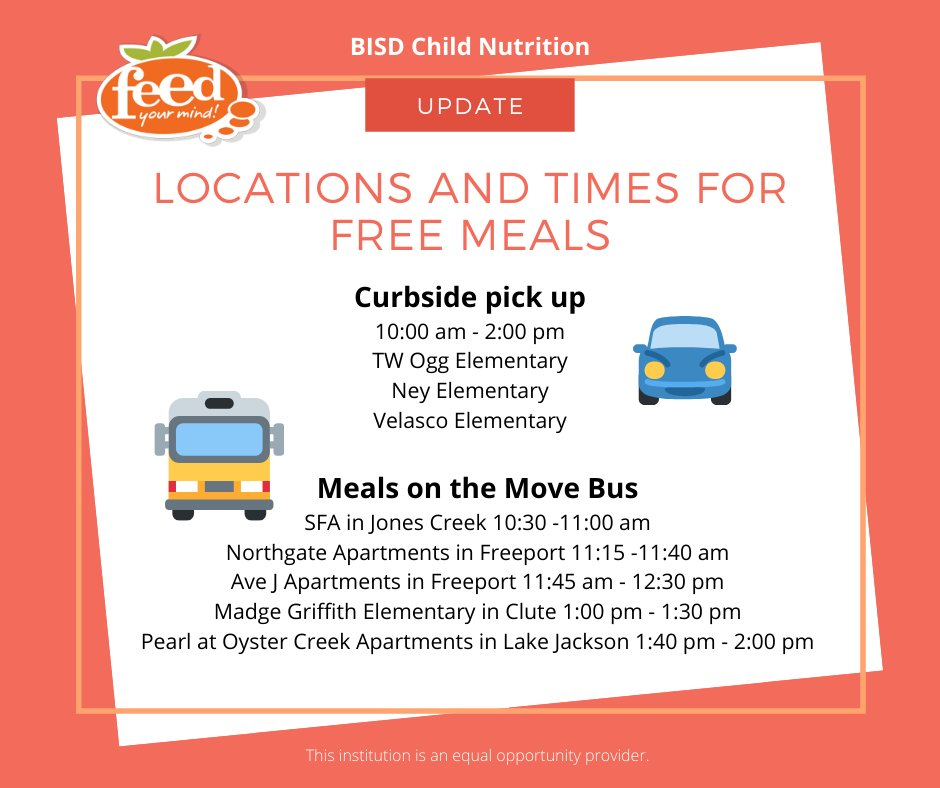 Update on free student meal locations and times...