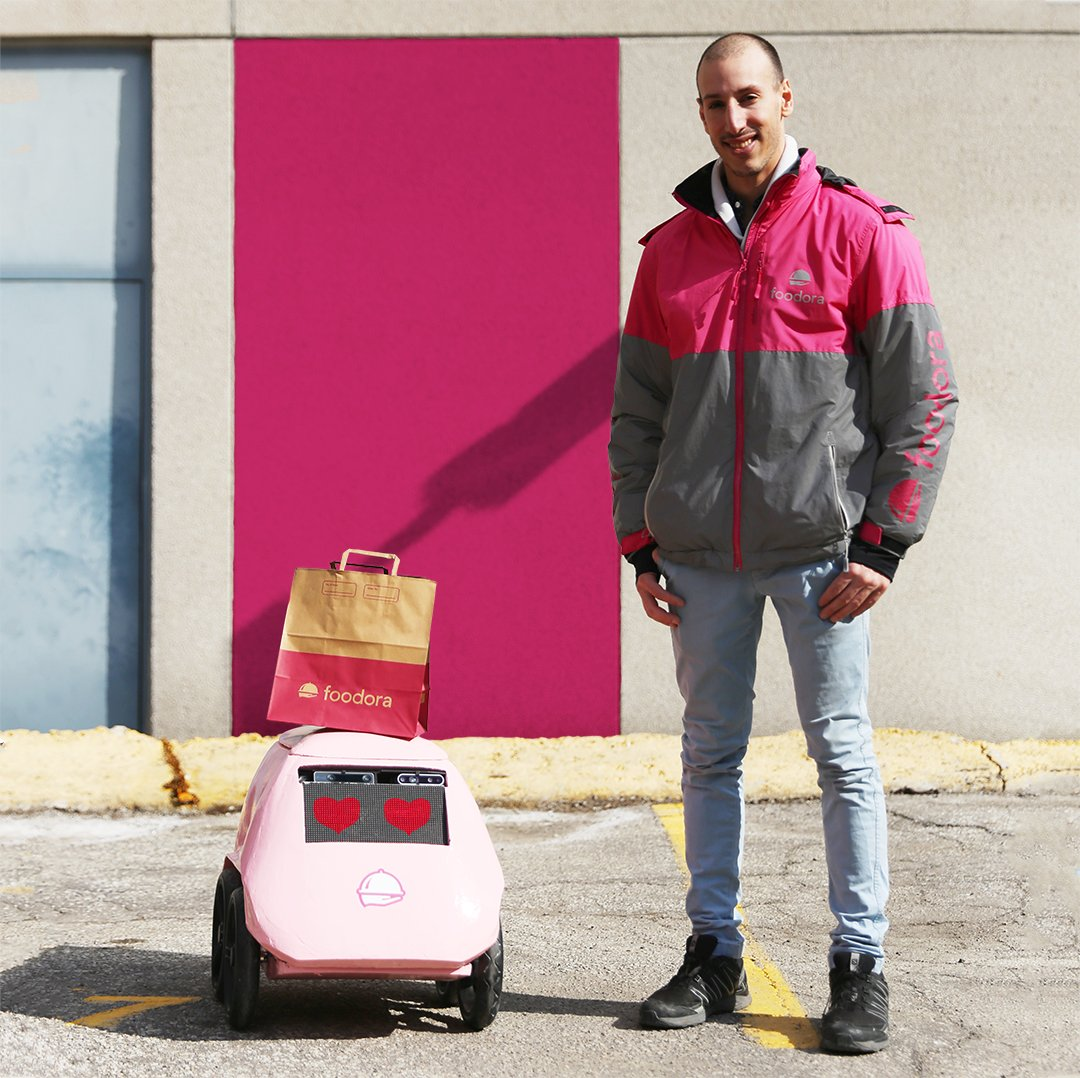 """Meet """"Geoffrey,"""" the safe, small and friendly delivery robot. Weighing just 10 lb., Geoffrey plays a big role in the future of no-contact, sustainable, artificially intelligent (AI), on-demand delivery in Canada. Read more at https://t.co/XsBrPzDVKY https://t.co/j8DvPwFFHw"""