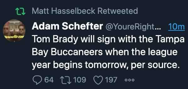 An ESPN guy getting fooled by a fake Adam Schefter account will always be a wonderful thing to me.