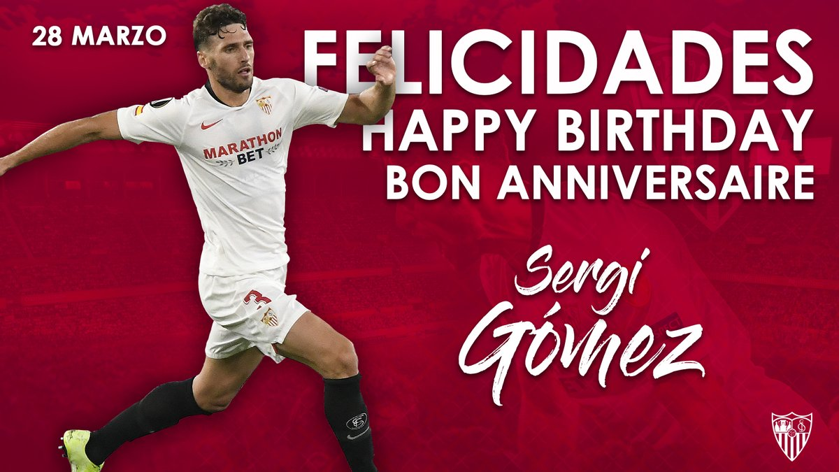 🎉 Happy birthday to our number 3⃣, @gomez_sergi! Many happy returns and have a great day! 🎁🎈 #WeareSevilla