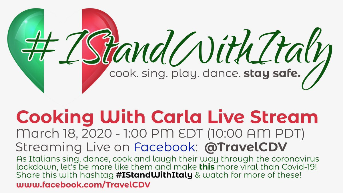 We are starting with a Livestream of Carla cooking dinner tomorrow from Soriano SHARE!  SHARE!  SHARE!  with hashtag #IStandWithItaly    #coronavirus #covid19 #coronavirusitaly https://t.co/97Y3i4Oqh5