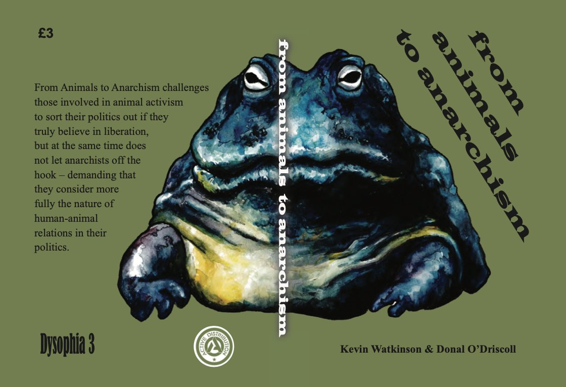 @Activedistro Coming soon from Active our reprinting of the Dysophia pamphlet From Animals to Anarchism, which challenges those involved in animal activism to sort their politics out if they truly believe in liberation. Now in a handy A6 pocketbook format.