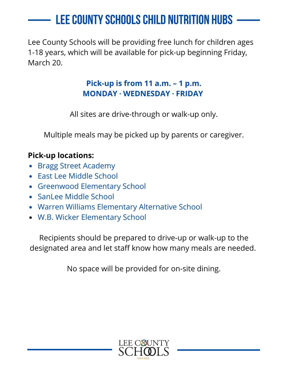Lee County Schools will be providing free lunch for children ages 1-18 years, which will be available for pick-up beginning Friday, March 20.  Pick-up is from 11 a.m. – 1 p.m. on Mondays, Wednesdays and Fridays. https://t.co/vRXo6GehCH