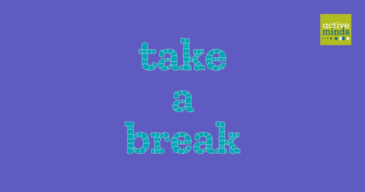 Take breaks to ease your mind and distract yourself when you start to worry. Did someone say puzzles?