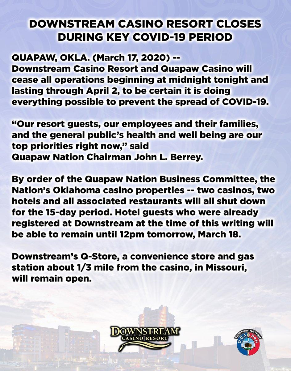 Downstream Casino Resort Closes During Key COVID-19 Period.