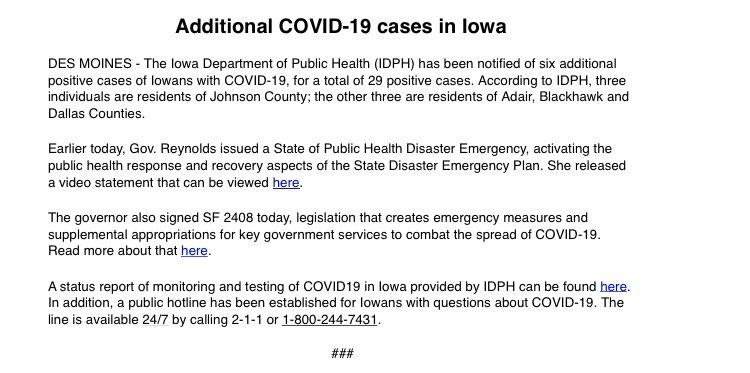 6 more cases in Iowa.