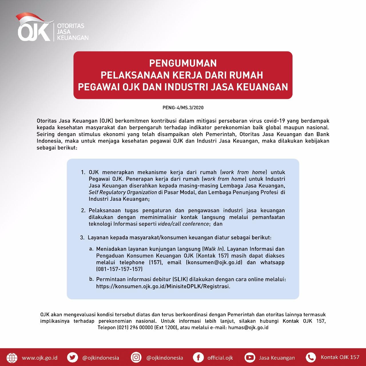 Ojk Indonesia On Twitter Sobat Ojk Untuk Mencegah Penyebaran Virus Corona Yang Berdampak Pada Kesehatan Masyarakat Ojk Mengeluarkan Kebijakan Bekerja Dari Rumah Untuk Menjaga Kesehatan Pegawai Ojk Dan Industri Jasa Keuangan Selengkapnya