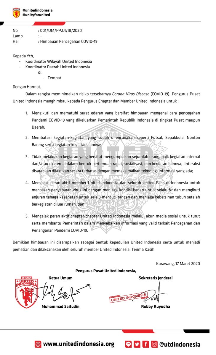 STAY SAFE!  Surat Himbauan dari Pengurus Pusat United Indonesia terkait Virus #COVID19.  Himbauan ini disampaikan sebagai bentuk kepedulian United Indonesia, serta untuk menjadi perhatian dan dilaksanakan oleh seluruh member United Indonesia.  Tetap semangat sehat selalu.✊ https://t.co/WPGUIp2DJa
