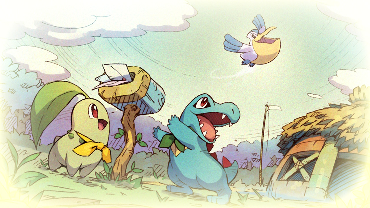 A menu screen from Pokémon Mystery Dungeon featuring Chikorita, Totodile, and Pelipper