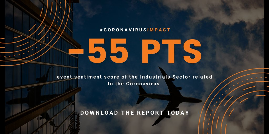 The Industrial sector faced the most negative event sentiment score related to the #Coronavirus impact. Download our latest #AlternativeData report and access the insights on all 11 sectors #SentimentAnalysis https://t.co/zHLdjKT24b https://t.co/mMd8DbnbPO