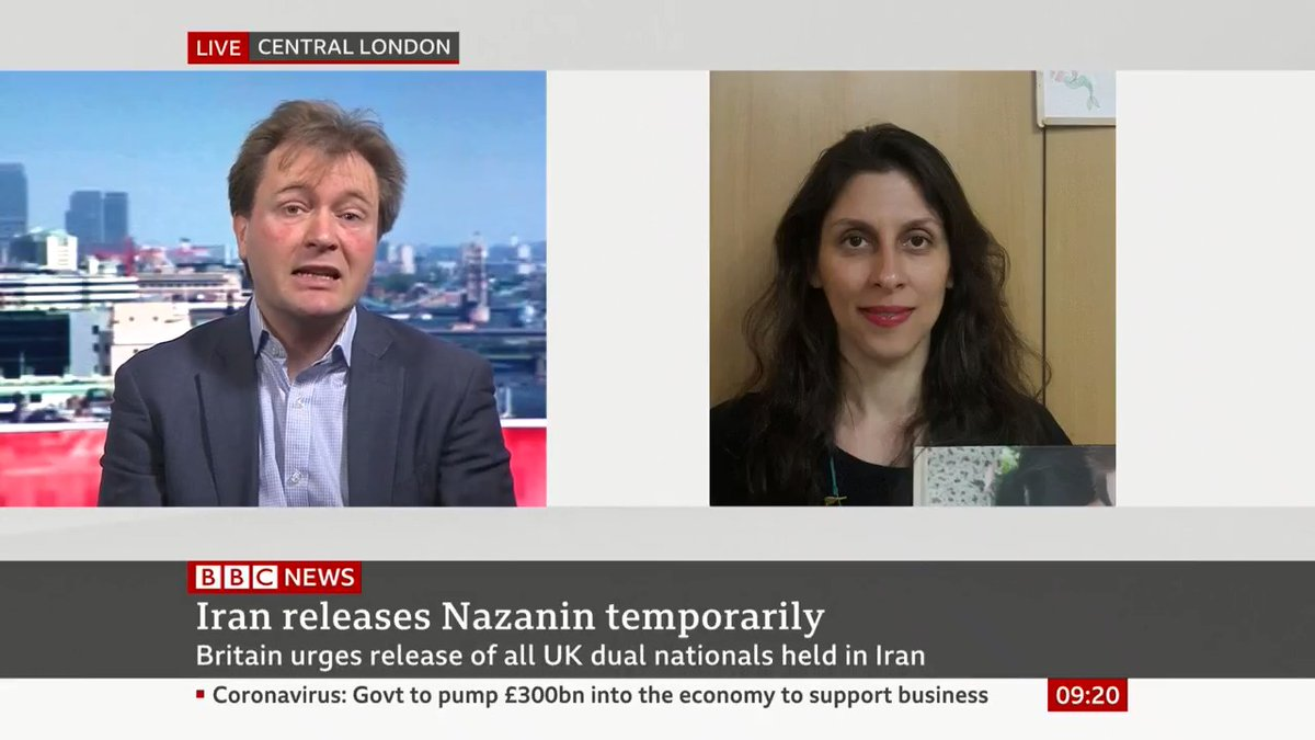 """""""The push we'll be making to the UK government is, 'This is a chance for you to reset the relationship with Iran'"""" Richard Ratcliffe's wife Nazanin Zaghari-Ratcliffe has been temporarily released from prison in Iran bbc.in/3d8PCRu"""