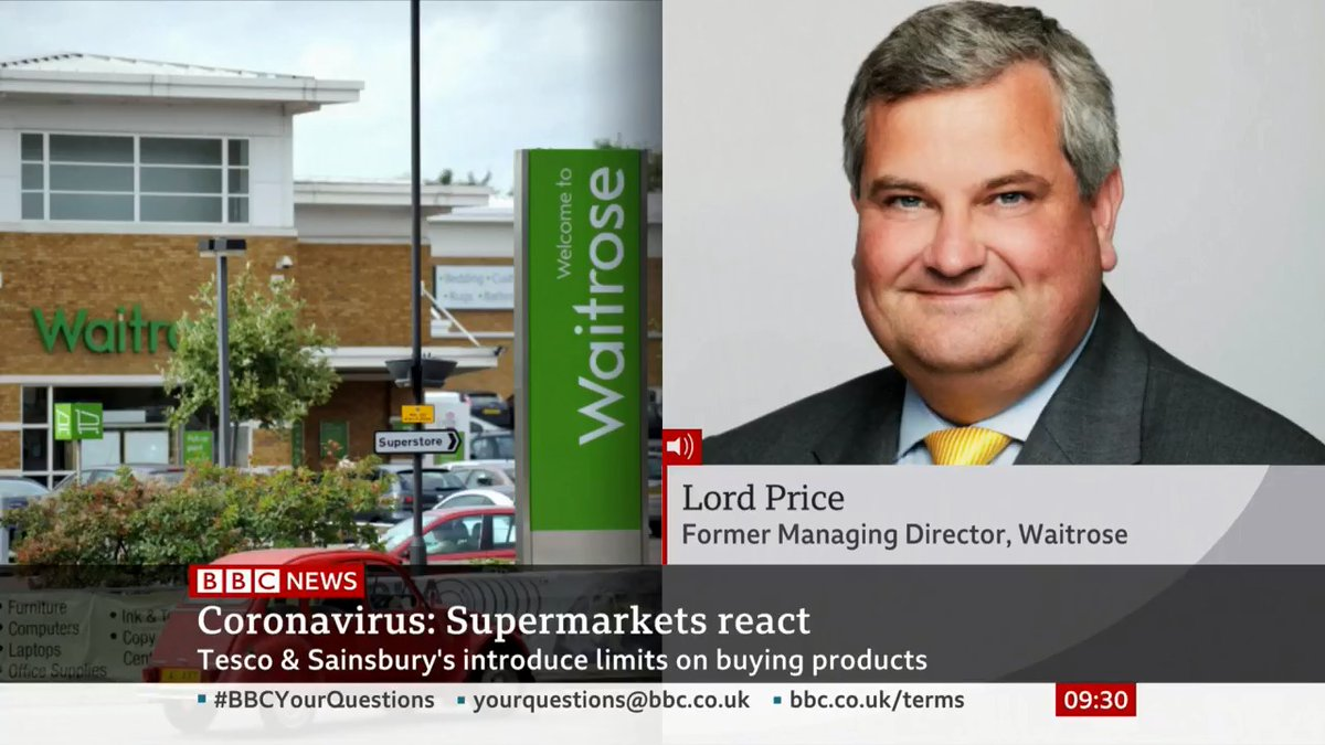 """""""If everyone behaved rationally the shelves would be full"""" Tory peer and ex-Waitrose managing director Lord Price says there is enough food for everyone. The issue, he adds, is holding enough food in the supermarkets at any one time bbc.in/3d8PCRu"""