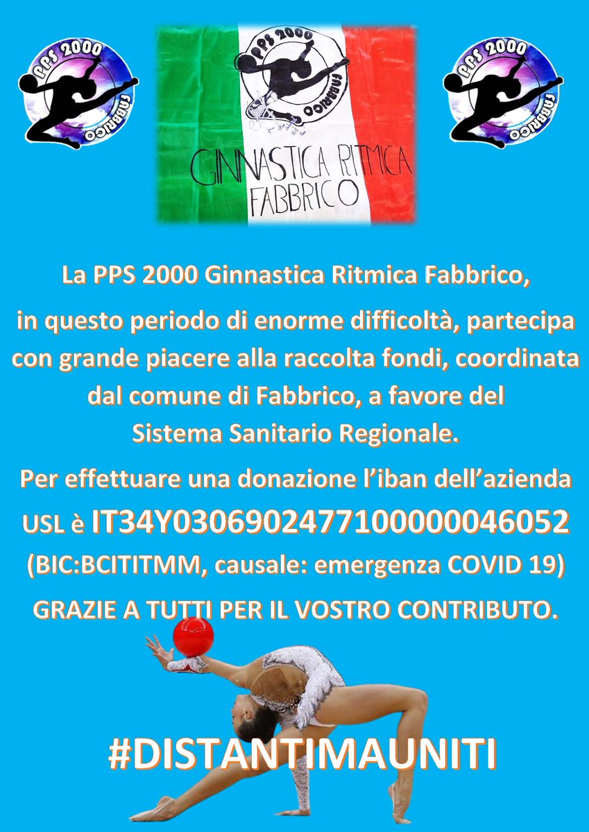 DONATE ! #Fabbrico #Ginnasticaritmicafabbrico #PPS2000 #ginnastica #ginnasticaritmica #COVID19italia #coronavirusitalIa #CoronaVirusitalypic.twitter.com/oAjxEDf6op