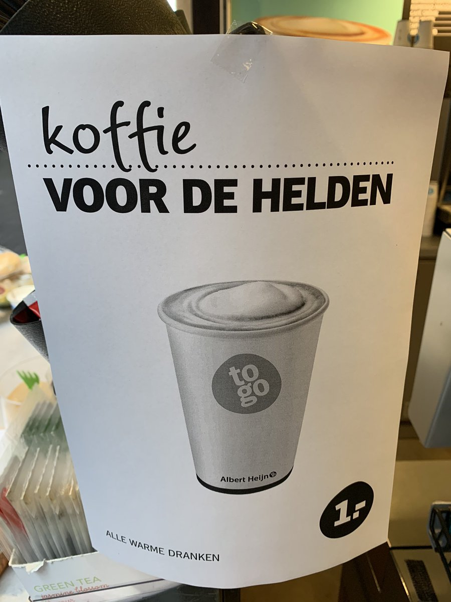 In @amsterdamumc  where @albertheijn  is showing support to healthcare employees. Coffee for heroes, all coffee for 1 euro. Nice to see all this #applausvoordezorg  ... #LockdownHolland  #coronavirusNederland  #COVID19  #ThanksForTheInspiration  #healthcare