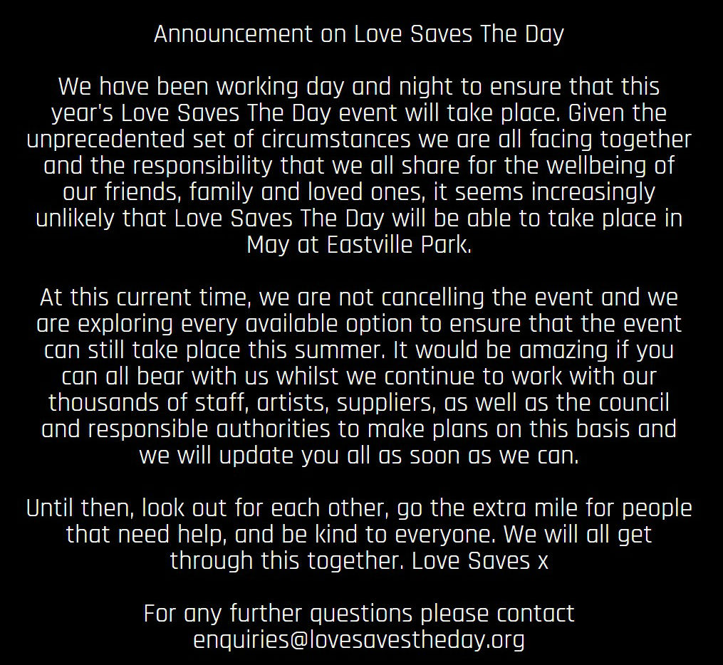 Love Saves The Day 2020 dates