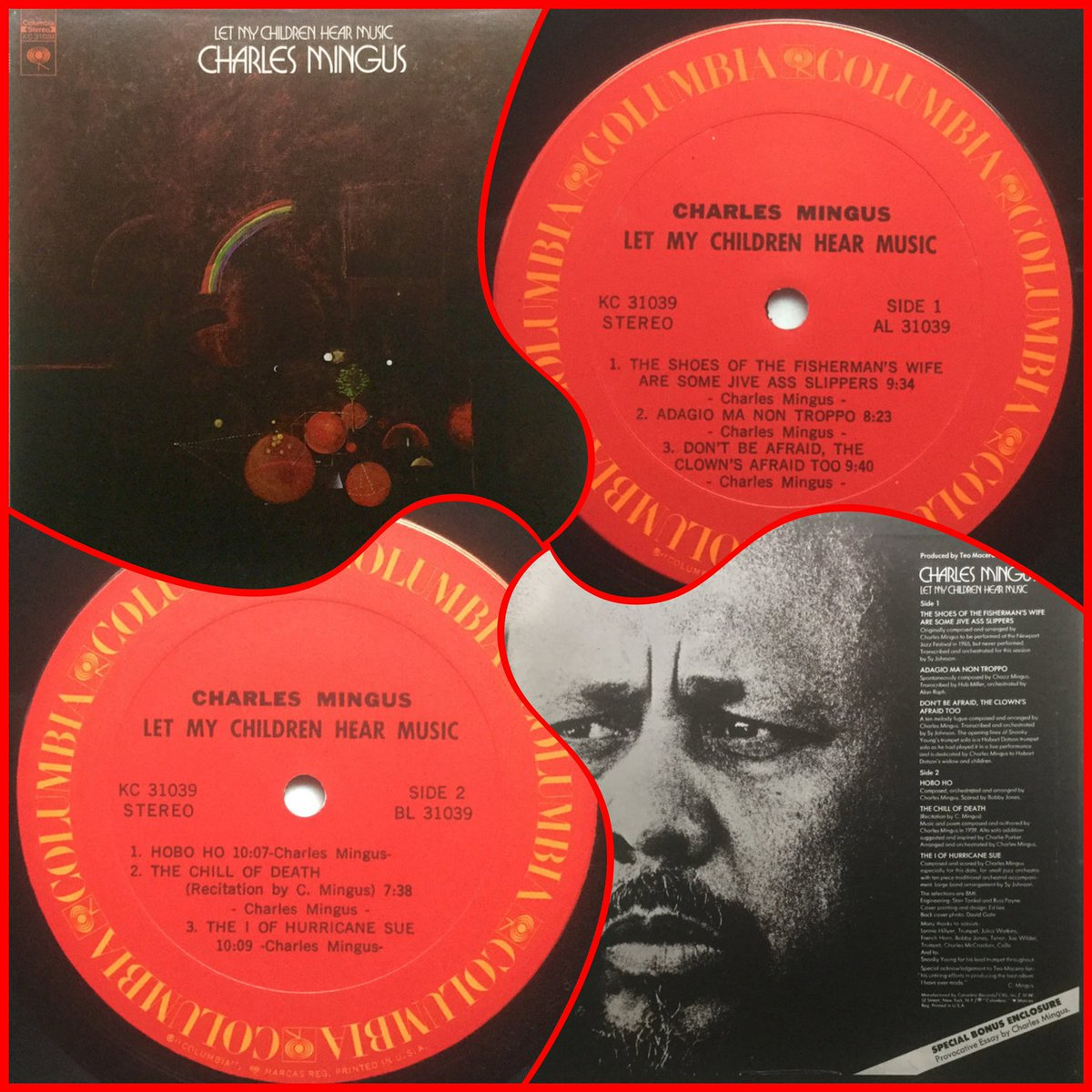 """Charles Mingus – Let My Children Hear Music  Any Lp  that starts with  """"The Shoes of the Fisherman's Wife Are Some Jiveass Slippers""""  ..you're gonna stick with..  https://www.youtube.com/watch?v=Rbdx-jR3a8U&list=OLAK5uy_lJoQMoK7yRvgtmlJRCm0WZsXlLuQ2Tt4U…  #charlesmingus #letmychildrenhearmusic #recorded1971 #released1972 #jazz #avantgardejazz pic.twitter.com/5WhgyvM5ce"""